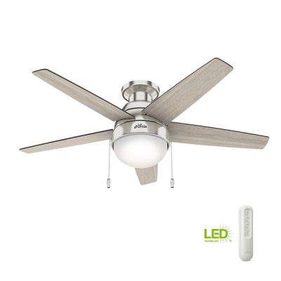 Parmer 46 in. LED Indoor Brushed Nickel Flush Mount Ceiling Fan with Light bundled with handheld remote control