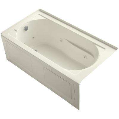 Devonshire 5 ft. Acrylic Left-Hand Drain Farmhouse Rectangular Apron-Front Whirlpool Bathtub in Biscuit