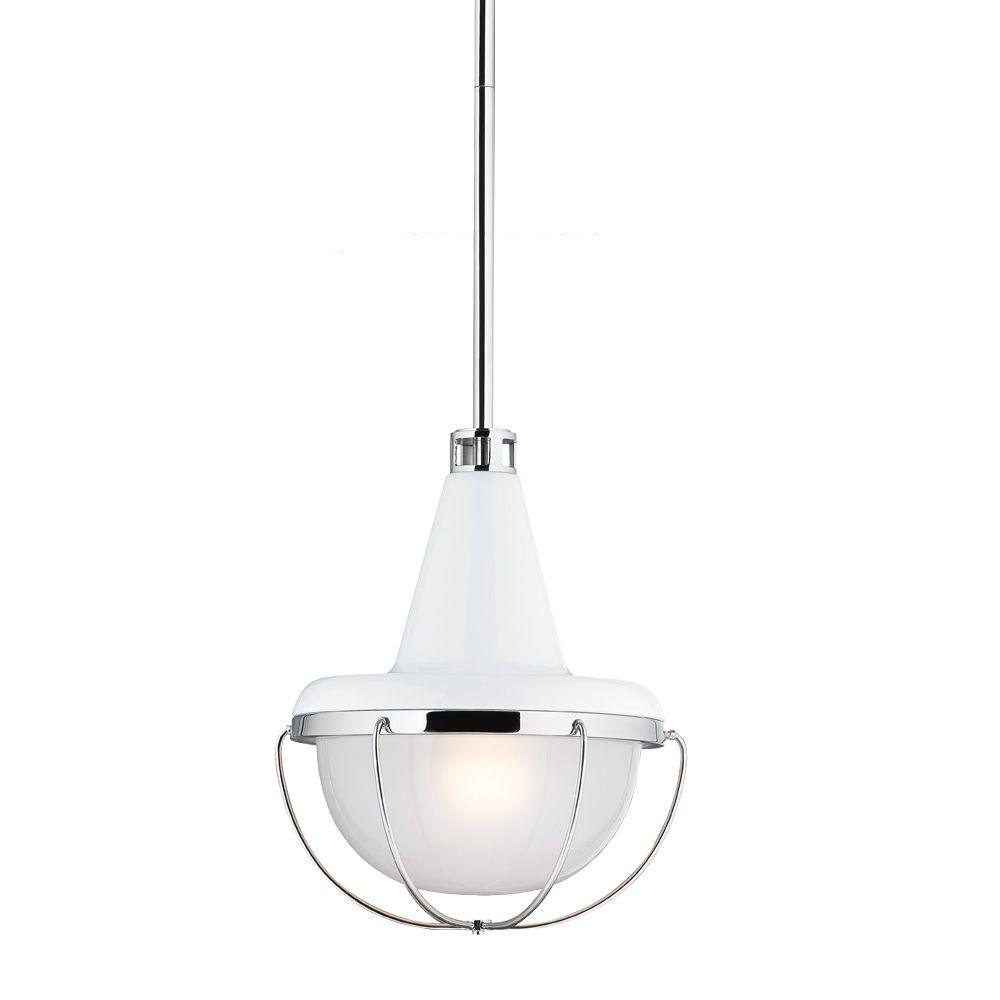 Feiss Livingston 1-Light Hi Gloss White/Polished Nickel Mini Pendant