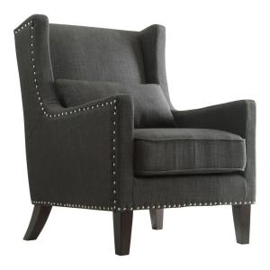 Ashley Charcoal Linen Wing Back Arm Chair
