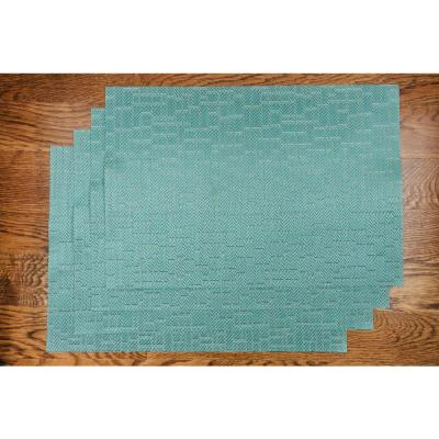 Bricks 19 in. x 13 in. Teal 100% Textilene Placemat (Set of 4)