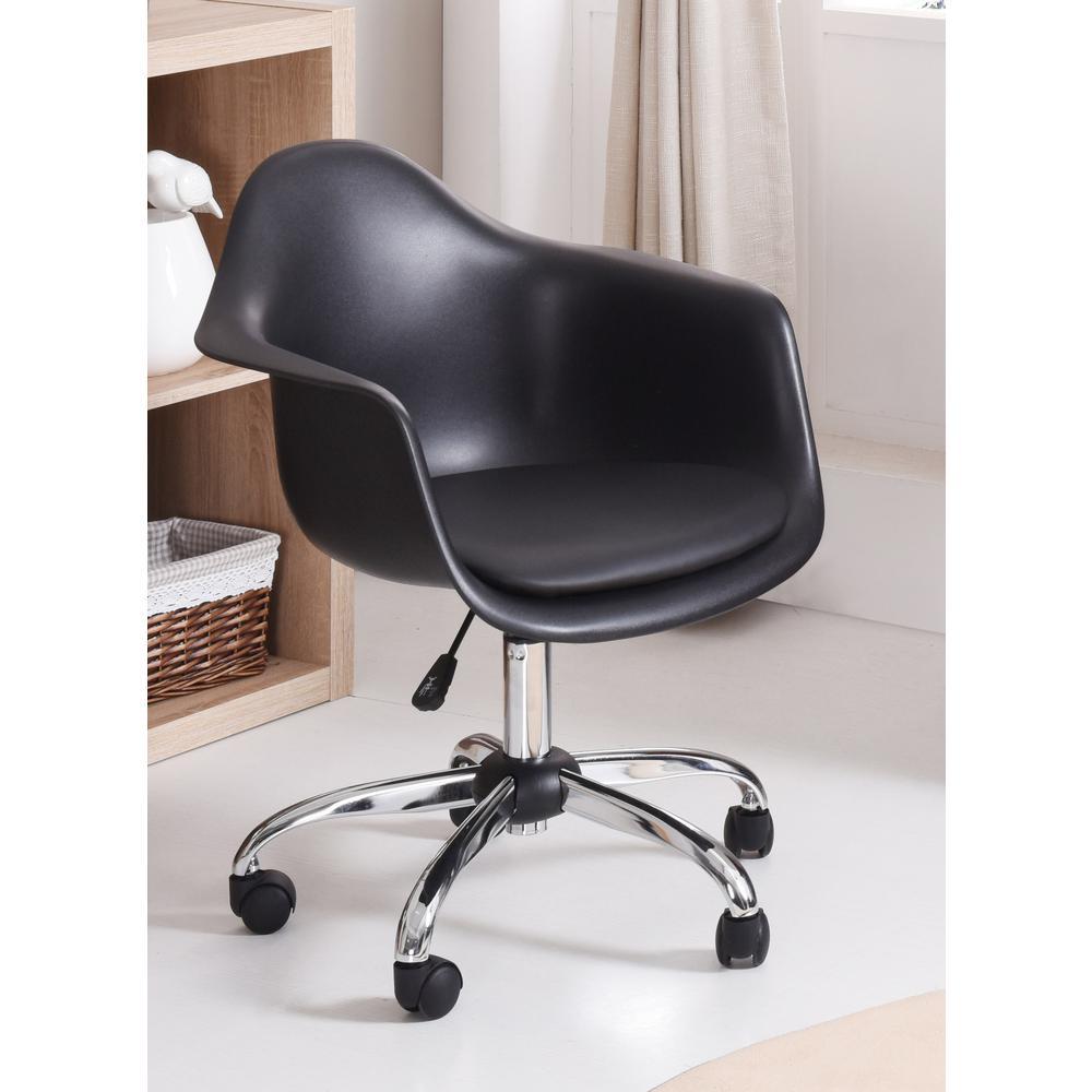Hodedah Adjustable Bucket Black Swivel Office/Desk Chair by Hodedah