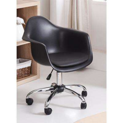 Adjule Bucket Black Swivel Office Desk Chair