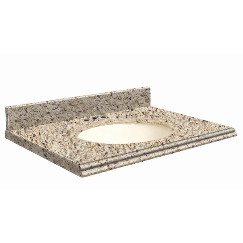 31 in. W x 19 in. D Granite Vanity Top in Giallo Ornamental with Biscuit Basin