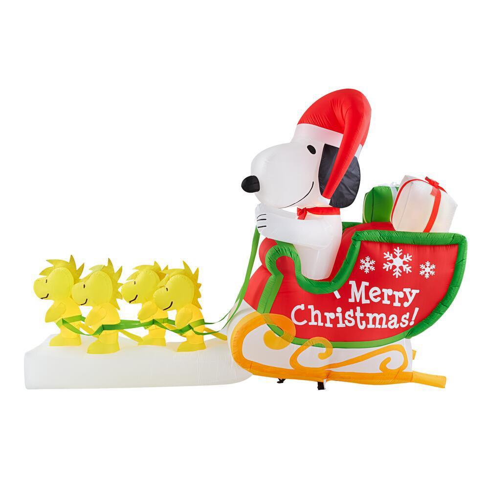 5.7 ft. Inflatable Snoopy Santa Sleigh with Woodstock Reindeer