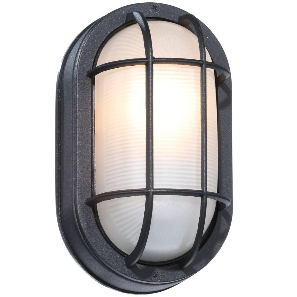 Hampton Bay Black Outdoor Oval Bulkhead Wall Light-HB8822P-05 ...