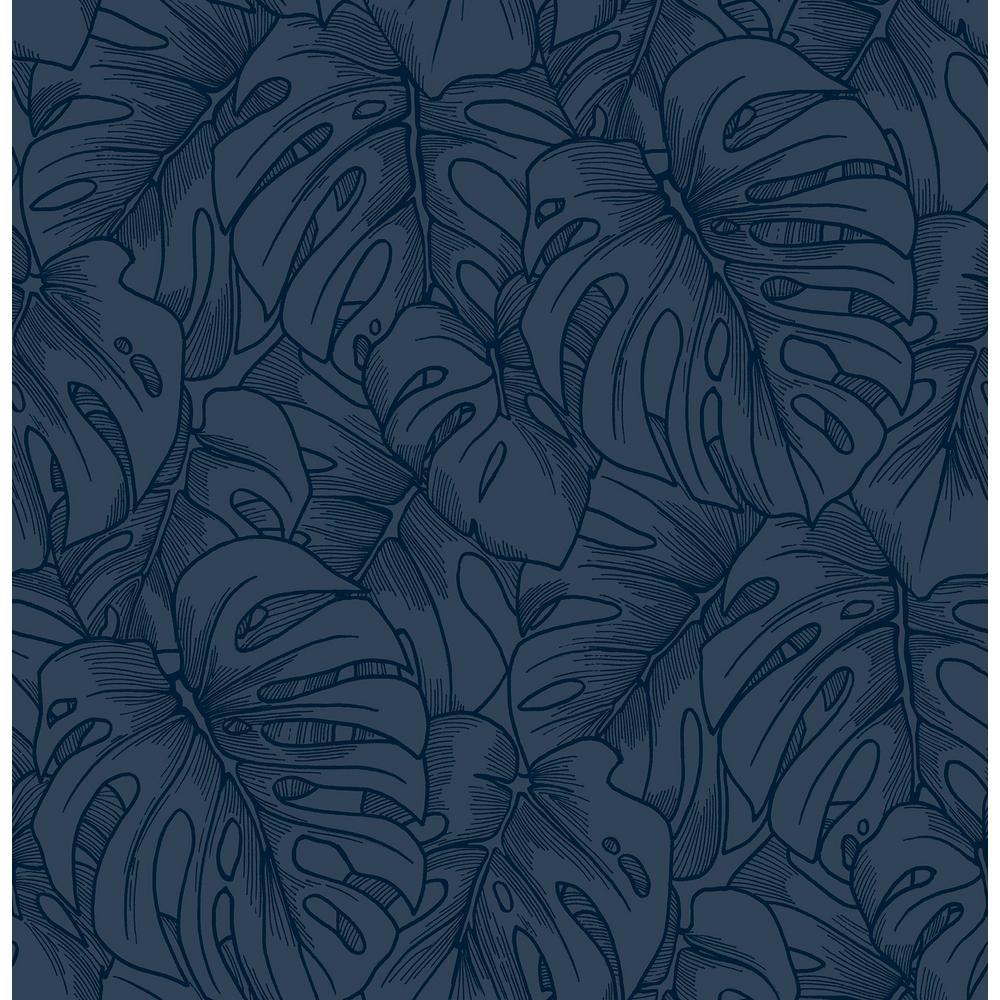 Balboa Indigo BoTanical Indigo Paper Strippable Roll (Covers 56.4 sq. ft.)