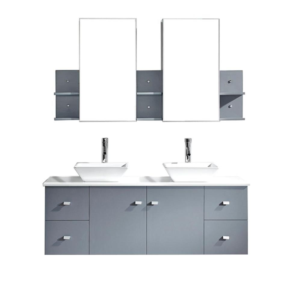 Virtu USA Clarissa 60 in. W Bath Vanity in Gray with Stone Vanity Top in White with Square Basin and Mirror and Faucet