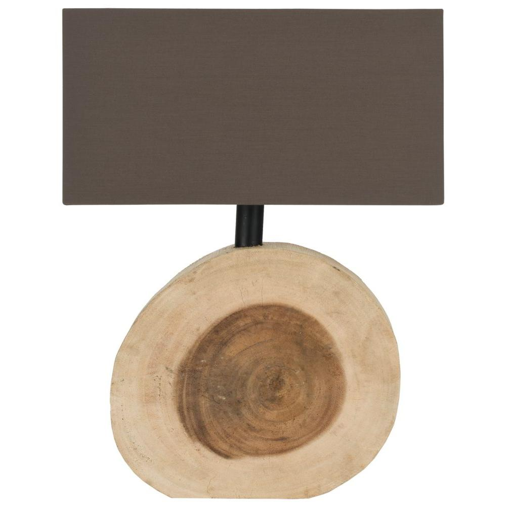 Safavieh Forester 12.6 in. Natural Wood Lamp with Brown Shade