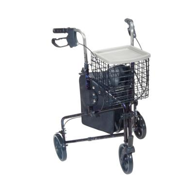 3-Wheel Rollator Rolling Walker with Basket Tray and Pouch, Flame Blue