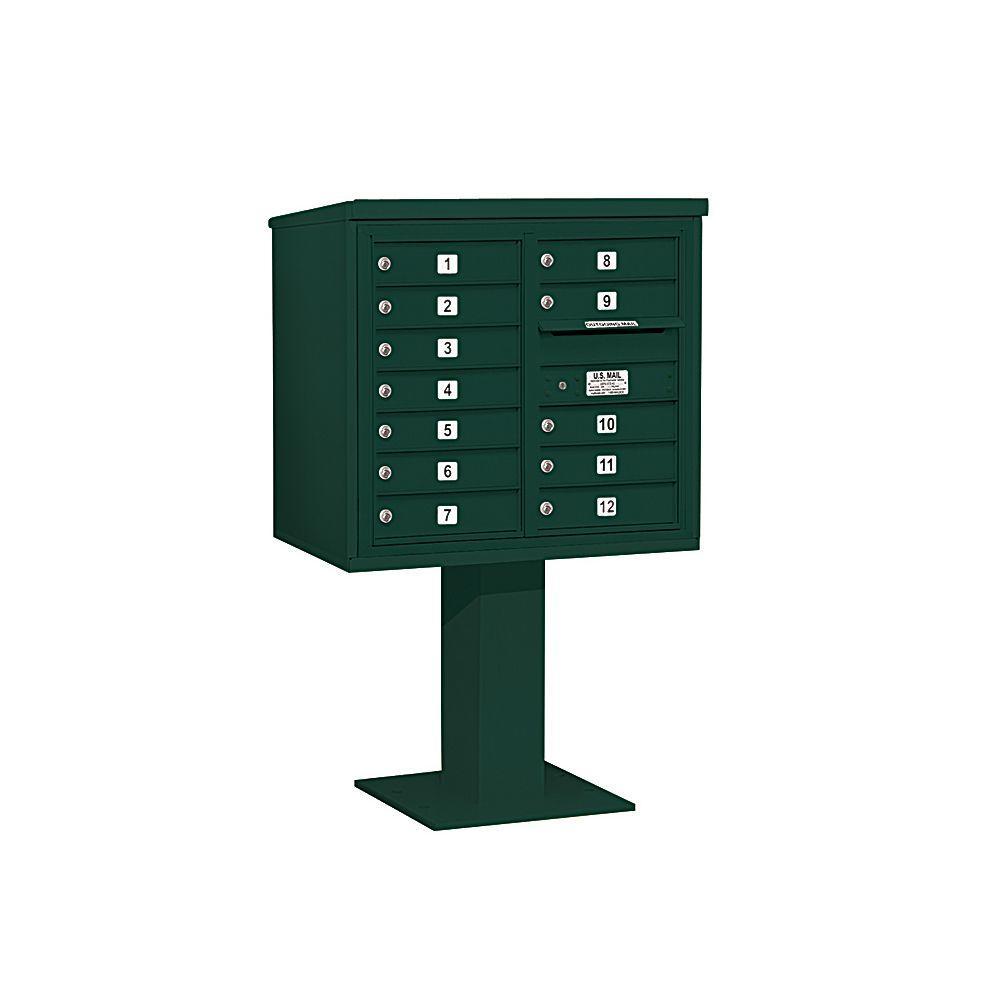 3400 Series 55-1/8 in. 7 Door High Unit Green 4C Pedestal Mailbox with 12 MB1 Doors