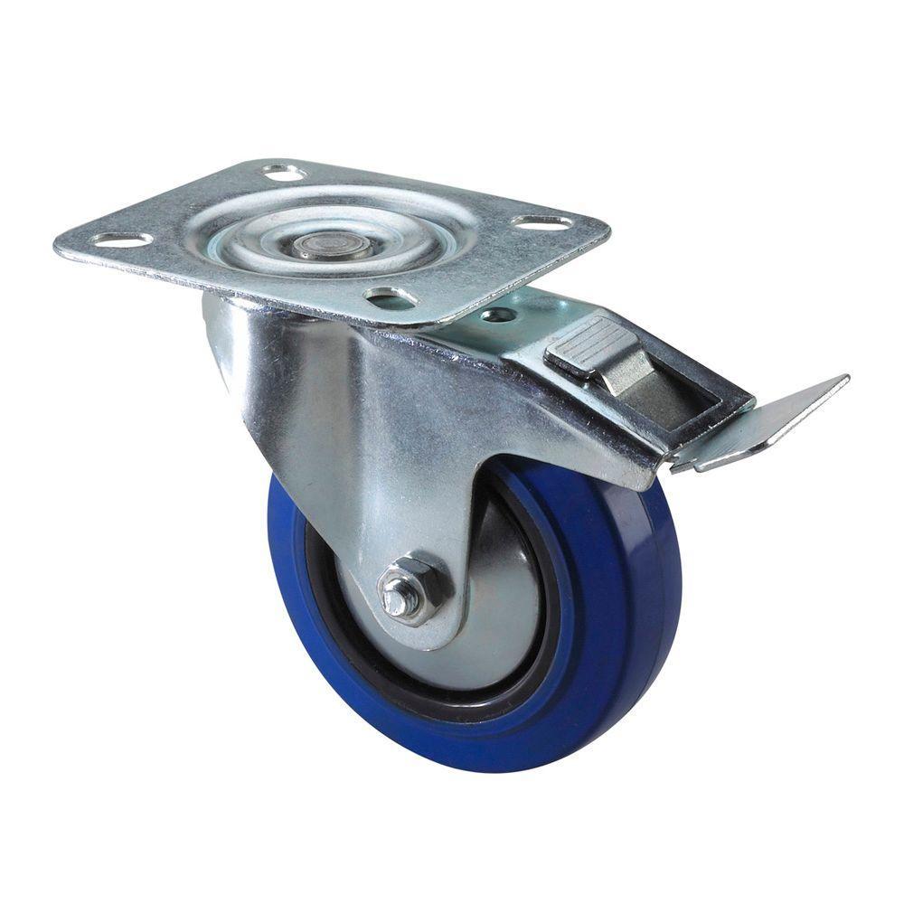 Richelieu Hardware Heavy Duty Blue Wheel Caster 130 kg - Swivel with Brake - 4 In.-DISCONTINUED