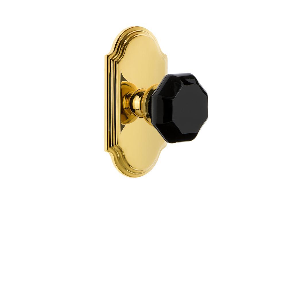 Arc Rosette 2-3/4 in. Backset Polished Brass Privacy Bed/Bath Lyon Door Knob
