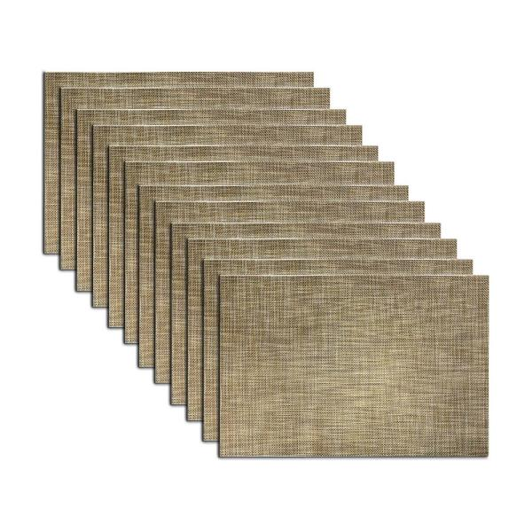EveryTable 18 in. x 12 in. Gray and Gold Weave Polyester Placemat (Set of 12)
