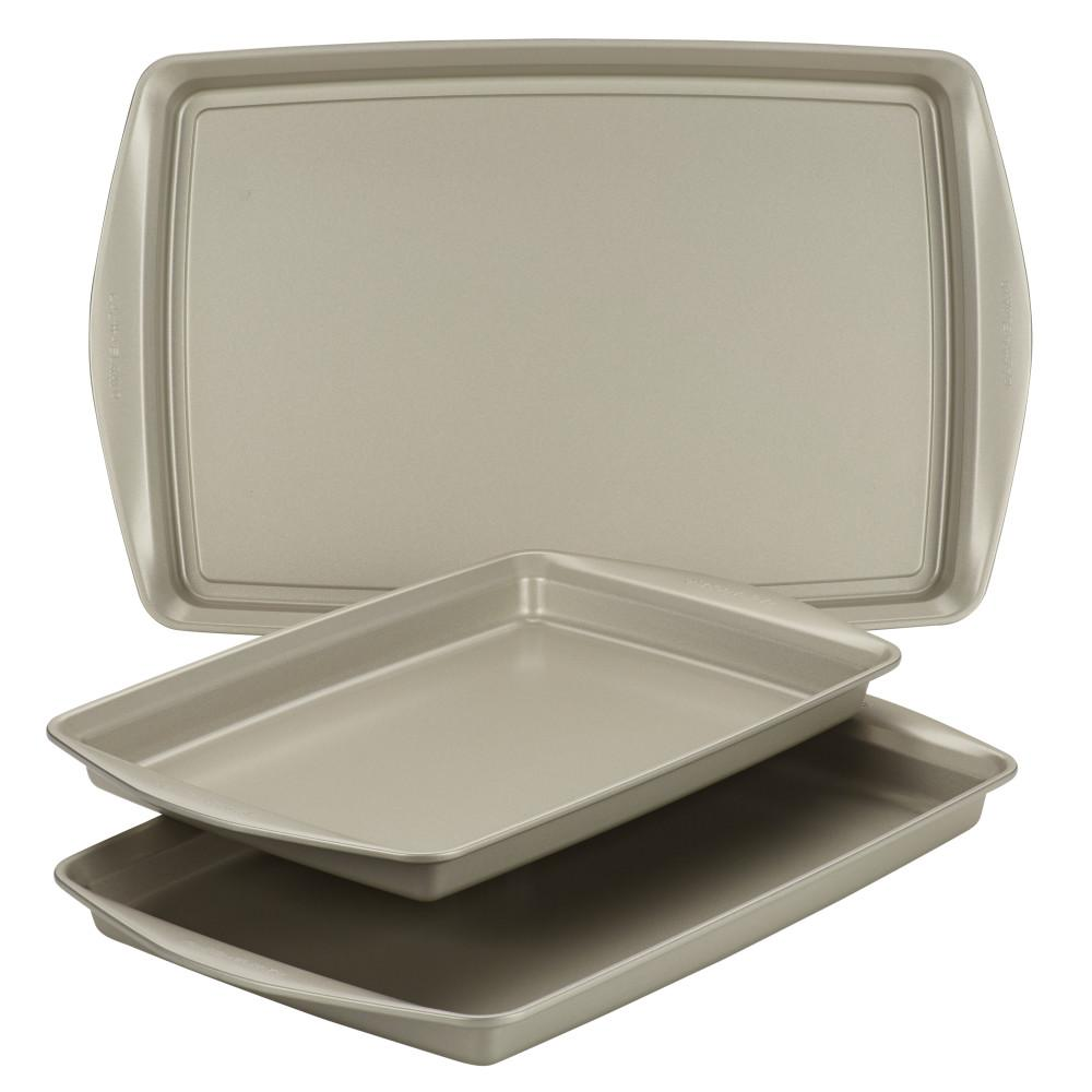 Nonstick Bakeware Cookie Pan Set, 3-Piece, Silver