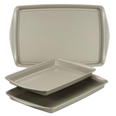 Nonstick Bakeware Cookie Pan Set, 3-Piece, Silver