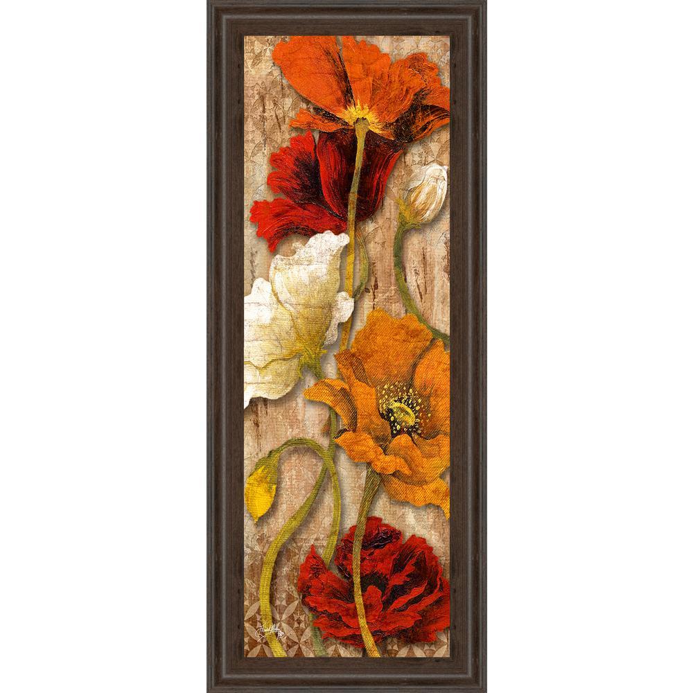 """18 in. x 42 in. """"Joyful Poppies II"""" by Elizabeth Medely Framed Printed Wall Art"""