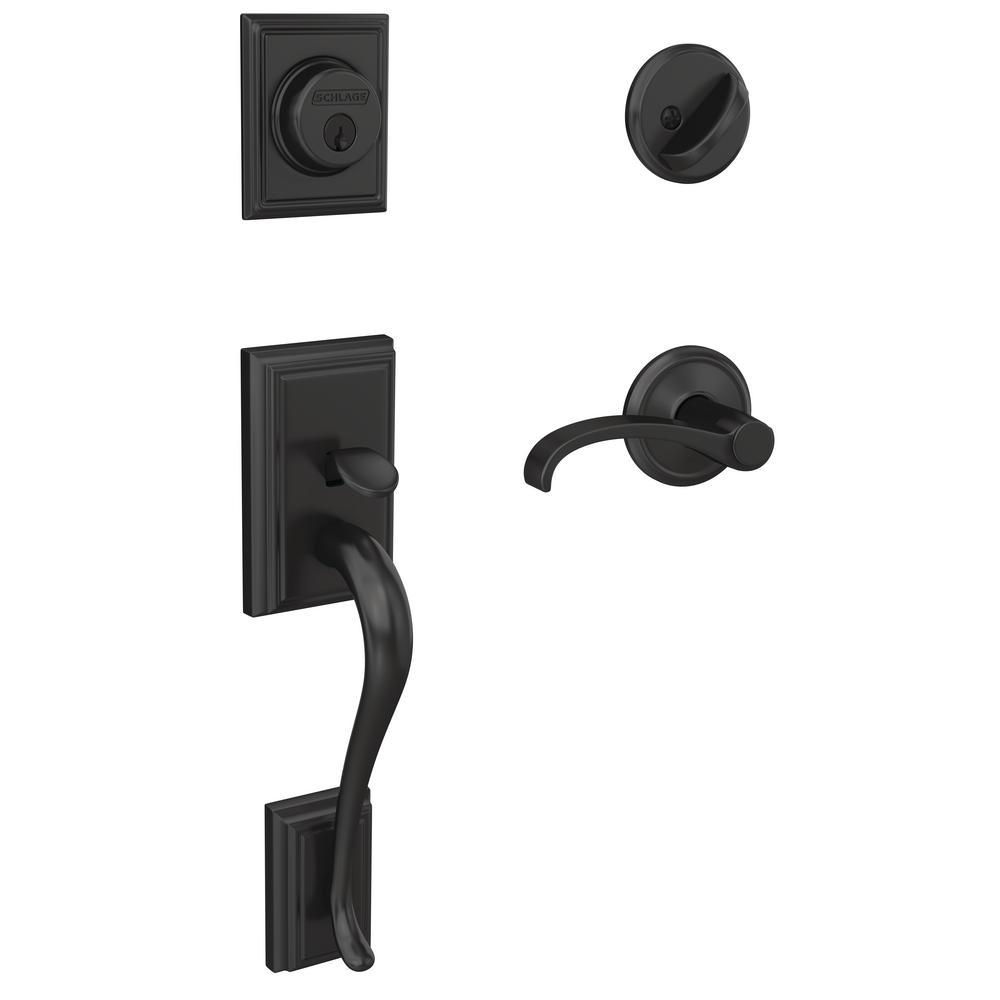 Schlage Century Matte Black Entry Door Handle With