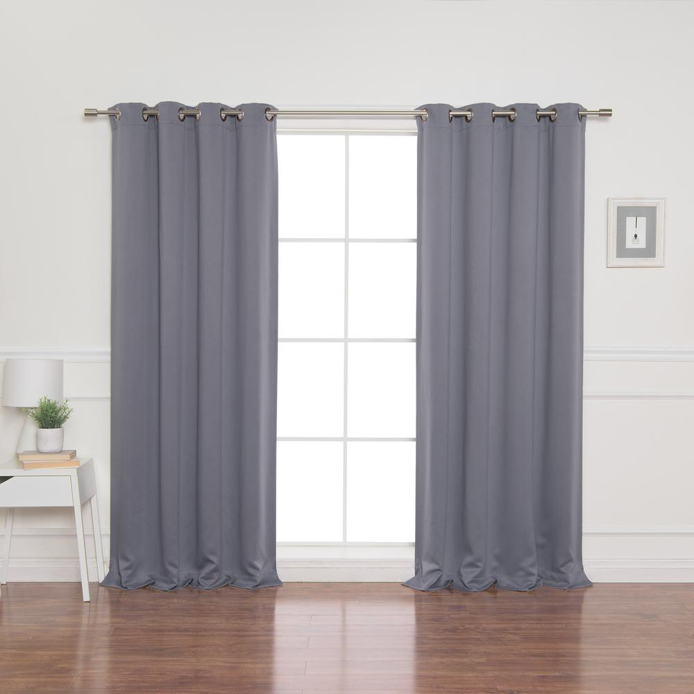 Best Home Fashion 52 in. W x 84 in. L Flame Retardant Blackout Curtain Panel Set in Grey