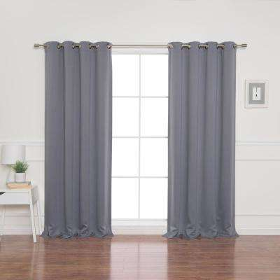 52 in. W x 84 in. L Flame Retardant Blackout Curtain Panel Set in Grey