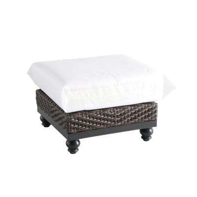 Camden Dark Brown Wicker Outdoor Ottoman with Cushions Included, Choose Your Own Color
