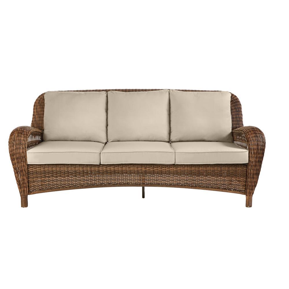 Beacon Park Brown Wicker Outdoor Patio Sofa with CushionGuard Putty Tan Cushions