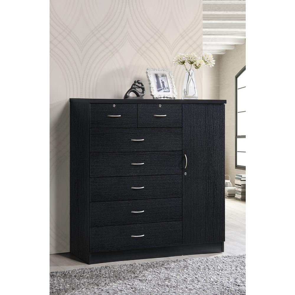 Hodedah  Drawer Black Chest With Door