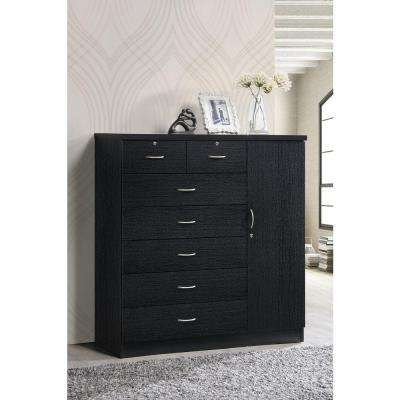 7-Drawer Black Chest with Door