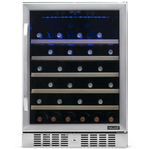 Single Zone 52-Bottle Built-In Wine Cooler Fridge w/ Precision Digital Thermostat & Beech Wood Shelves - Stainless Steel