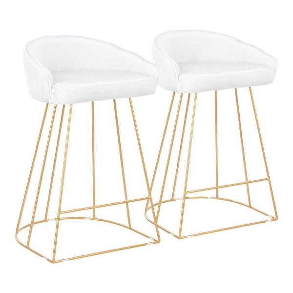 Canary 26 in. White Velvet and Gold Metal Upholstered Counter Stool (Set of 2)