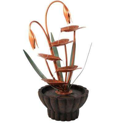 34 in. 5-Tier Copper Flower Petals Water Fountain