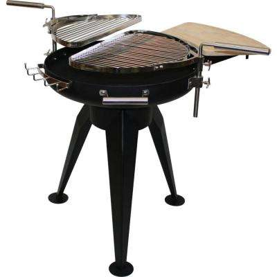 Cordoba 29.9 in. H x 26.8 in. D Fire Pit in Black Finish and Grills