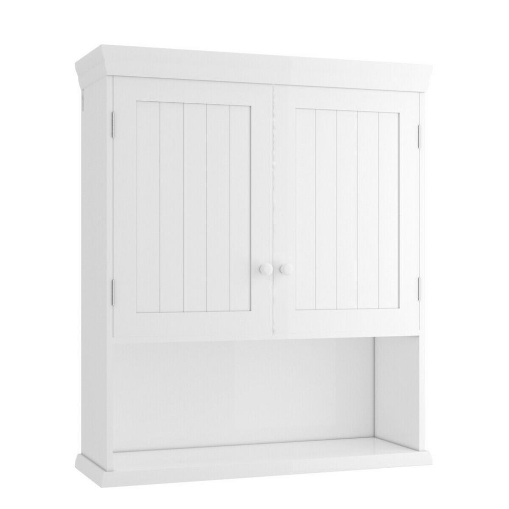 Costway 8 in. W Wall Mount Bathroom Cabinet Storage ...