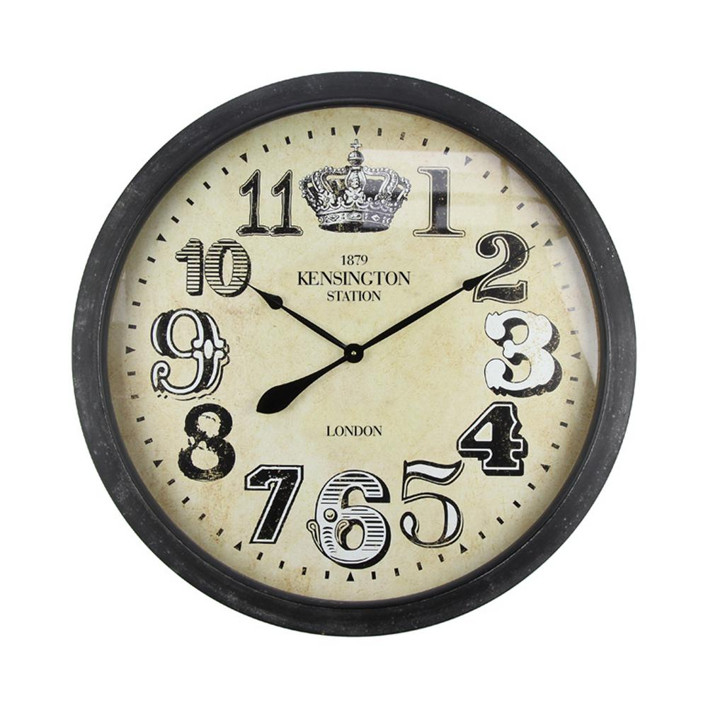 Royally Crowned Distressed Brown Oversized Wall Clock
