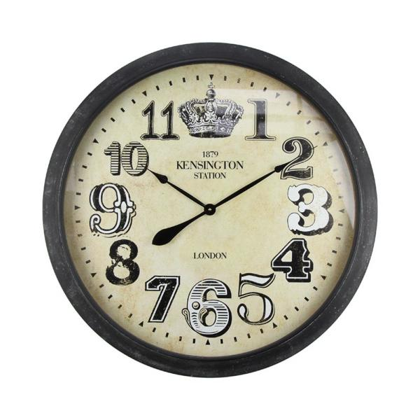 Yosemite Home Decor Royally Crowned Distressed Brown Oversized Wall Clock