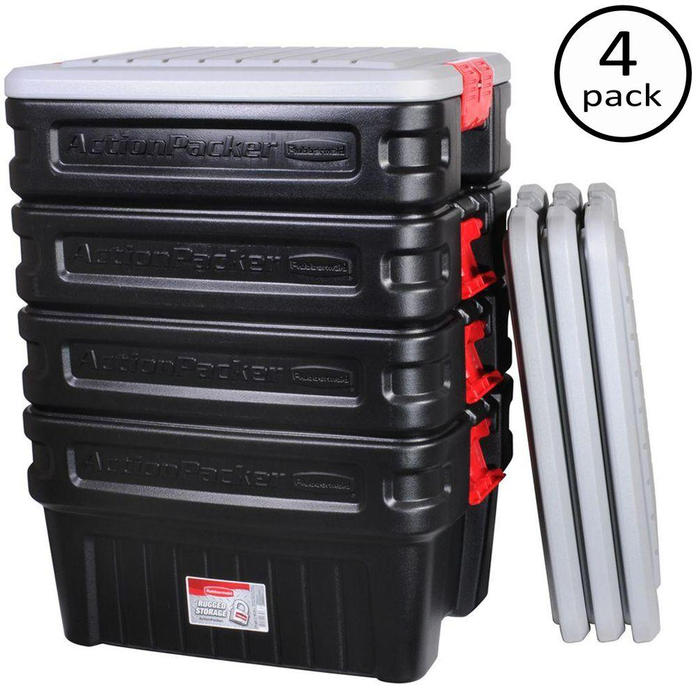 Rubbermaid 24-Gal. Action Packer Storage Tote (4-Pack)