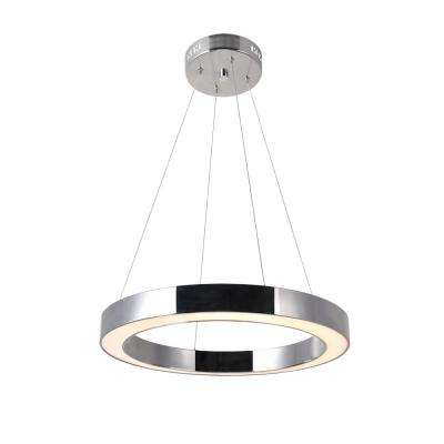 Ringer 40-Watt Integrated LED Polished Nickel Chandelier