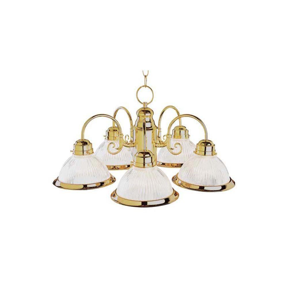 Cabernet Collection 5-Light Antique White Chandelier with Clear Ribbed Shade