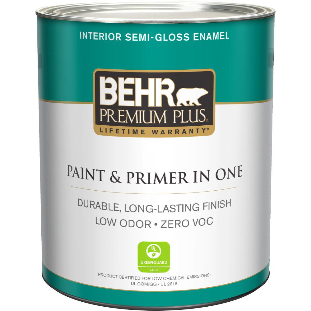 BEHR Premium Plus 1 qt. Ultra Pure White Semi-Gloss Enamel Zero ...
