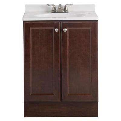 Vanity Pro All-In-One 24 in. W Bathroom Vanity in Chestnut with Cultured Marble Vanity Top in White
