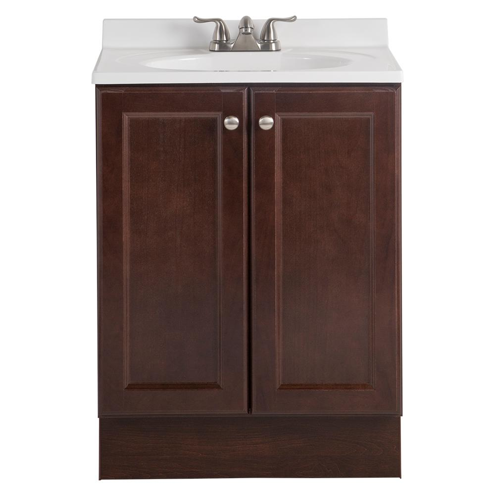 Glacier bay vanity pro all in one 24 in w bathroom vanity in chestnut with cultured marble for All in one bathroom vanity