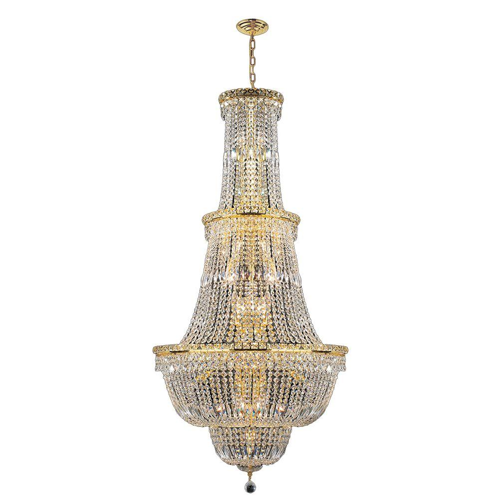 Worldwide Lighting Empire Collection 34-Light Gold Crystal Chandelier