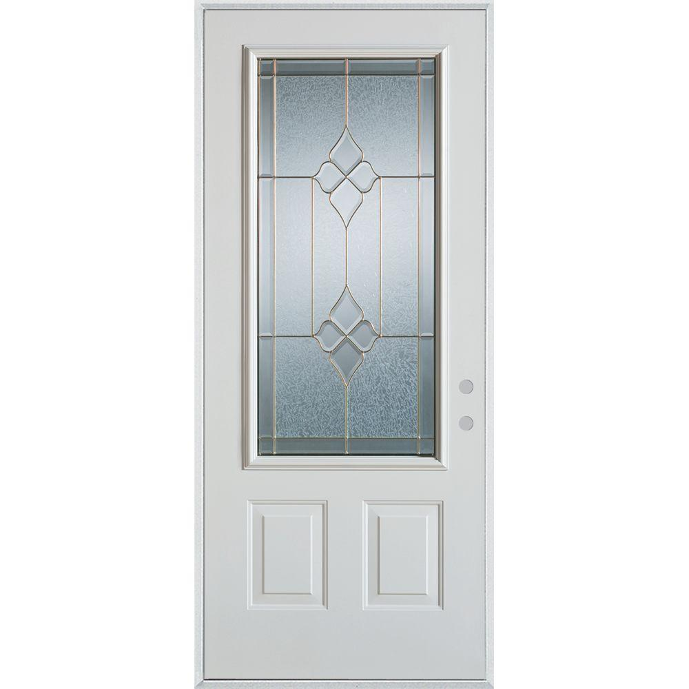 33.375 in. x 82.375 in. Geometric Brass 3/4 Lite 2-Panel Painted
