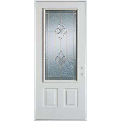 33.375 in. x 82.375 in. Geometric Brass 3/4 Lite 2-Panel Painted White Left-Hand Inswing Steel Prehung Front Door