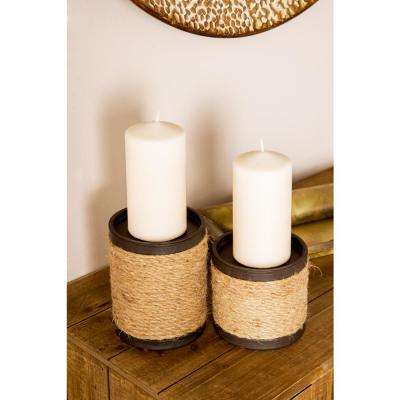 Black Cylindrical Candle Holders with Brown Jute Rope Wrap (Set of 3)