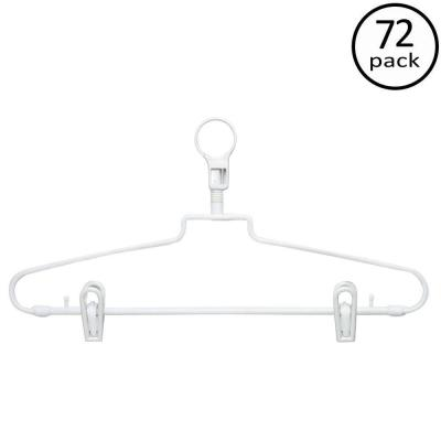 White Hotel Style Hangers with Security Loop and Clips (72-Pack)