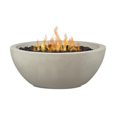 Pompton 38 in. Round Concrete Composite Natural Gas Fire Pit in Fog with Vinyl Cover