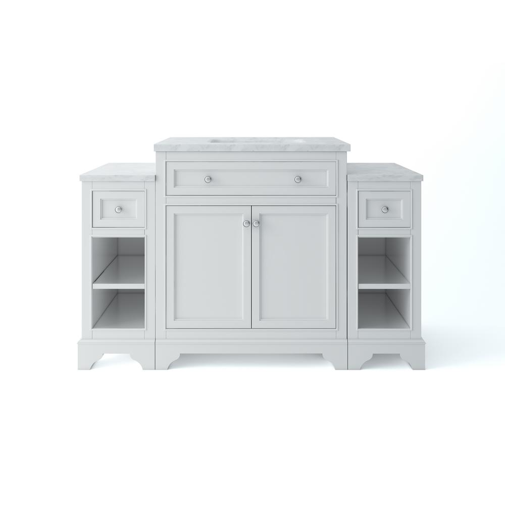 Home Decorators Collection Mornington 30 in. W x 21 in. D Single Bath Vanity in White with Marble Vanity Top in White with White Sink