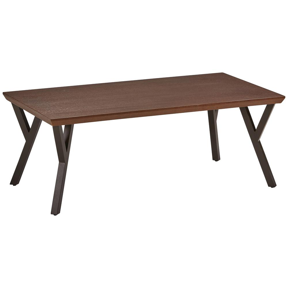 Hamburg Contemporary Oak Veneer And Black Metal Coffee Table Qj 265 Ct Sn The Home Depot