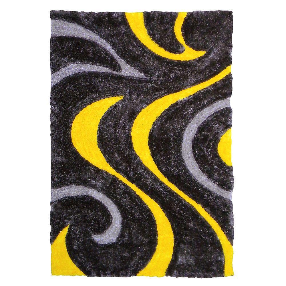 DonnieAnn 3D Shaggy Abstract Wavy Swirl Design Yellow 5 ft. x 7 ft. Indoor Area Rug